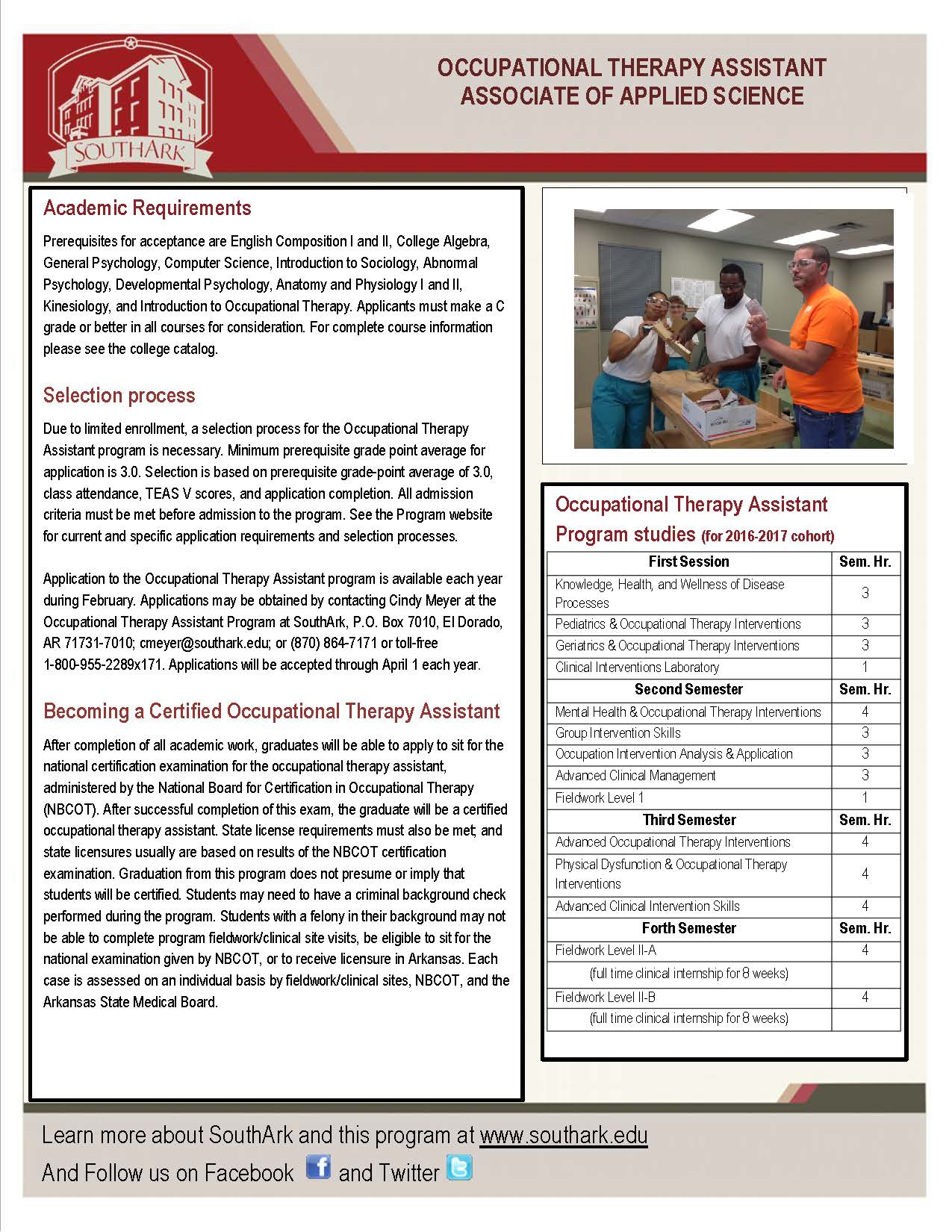 Occupational Therapy Assistant Montgomery County Community College Academic Calendar Diagram You Download The Ota Brochure